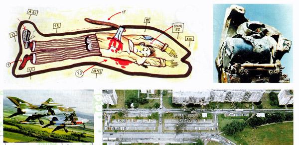 Jedna z ilustrací v Bulletinu Kriminalistického ústavu Praha Policie ČR od Jeňýka Pacáka, 2000