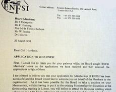 Dopis předsedkyně ENFSI Janet Thompsonové řediteli Kriminalistického ústavu Praha o jeho přijetí do ENFSI (došlo 30. 3. 1998)