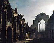 Olejomalba dioramatu Ruiny kaple v Holyroodu, Louis Daguerre, 211 x 256,3cm, 1824 - Wikipedie